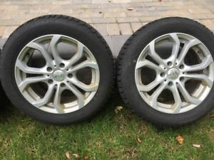 Four Firestone Winterforce Tires and Rims - 205/55R16