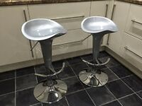 Bar stools , silver and chrome