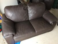 Brown leather sofas £45 each