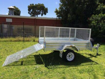 7x4 Gal Ramp Box Cage Lawn Mower Bike Trailer - $1399
