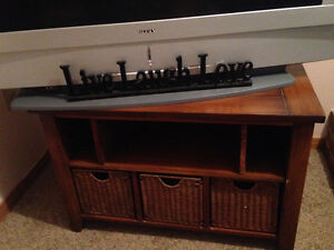 Solid Wood TV Stand with 3 Wicker Baskets