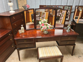 Beautiful stag dresser with mirrors and stool
