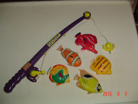 MAGNETIC FISHING ROD/REEL TOY SET FOR BATHTUB & WATER TABLE FUN