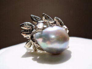 Antique 14k White Gold 12 mm Natural, Silver Gray Pearl Ring