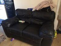 2 seater leather sofa black