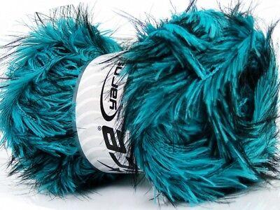 (Safari - Turquoise Blue & Black Long Eyelash Yarn #36740 Ice 100 gram)