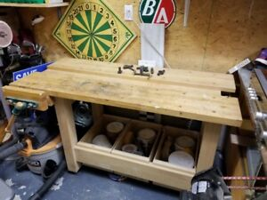 Solid Maple Wood Custom Made Woodworking Work Bench