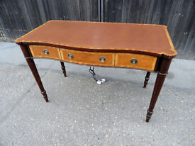 Georgian Style reproduction Serpentine Writing Table with Power Sockets