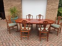 Yew wood antique table and chairs