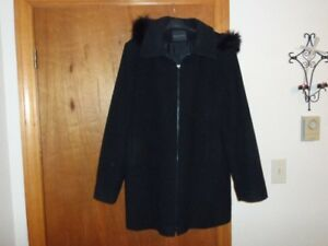 newer women 3/4 length black winter coat with detachable hood