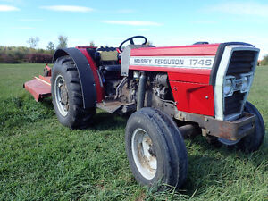 Massey Ferguson 174 S, diesel orchard tractor, implements.