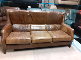 Halo Living Leather Rustic Style 3 Seater Sofa🤩excellent condition