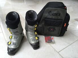 Nordica ski boots with Nordica bag, UK size 8-8.5