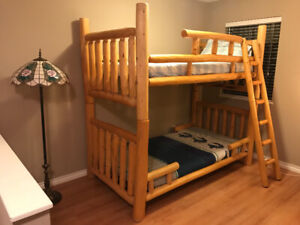 One of a kind PINE LOG Bunk beds