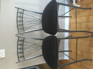 2 metal bar chairs