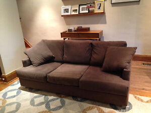 GH Johnson chocolate brown couch
