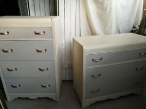 STUNNING!--2 Refinished Antique Waterfall Dressers~2 Toned