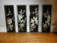 Hand painted Asian shell art on black lacquer