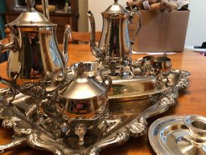Silverware Tea and Coffee Set with 4 Vintage HBC set pieces