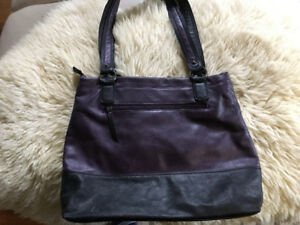 Lula Black and Purple Leather Purse Very Clean