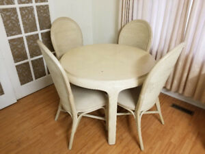 Compact dining kitchen table 4 chairs extension leaf 95 only
