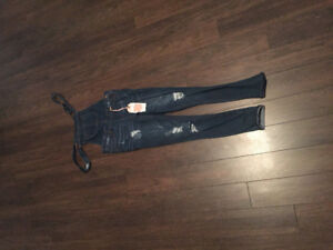 NEW WAX JEANS SKINNY DISTRESSED STRETCH OVERALLS COVERALLS SMALL