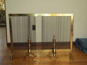Vintage Fireplace Brass Screen and Solid Brass Andirons