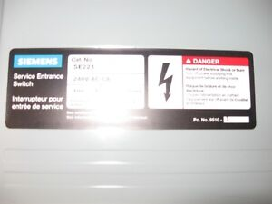 SIEMENS SE223 100 A DISCONNECT FUSEABLE SWITCH 240 V