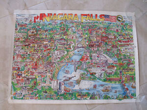 1990 Illustrated Map of Niagara Falls