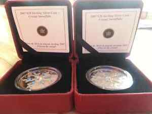 20 dollar blue and iridescent swarovsk coins