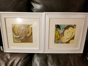 Baby elephant and monkey pictures framed