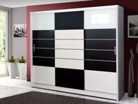 Unwanted 3 Door BLK WHITE Sliding Wardrobe
