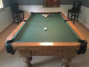 Pathmark Calgary Oak Pool Table with Accessories