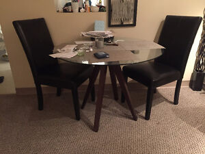 Modern Dining set (1 Glass top table and 2 leather chairs)