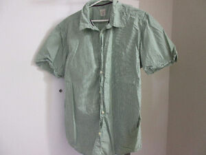 Mens short sleeved button down shirt green and white stripe