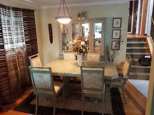 Wood dining set with hutch