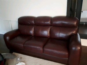 Burgundy Leather Sofa and Loveseat