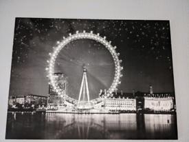 Black and white glitter canvas