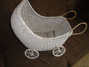 White Wicker Doll Carriage