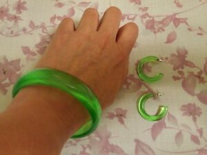 Vintage 1980's?  Candy Green Bracelet and Earrings Set