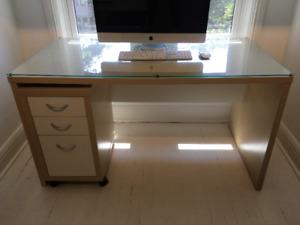 FS: Ikea desk, glass top, rolling file cabinet