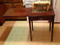 Mid-Century Vintage Wooden Sewing Machine Table