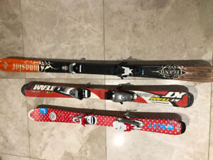 Kids skis, poles, helmet