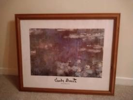 Monet Waterlilies print in pine frame