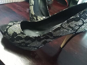 ALDO black and silver lace heels worn ONCE perfect condition!