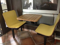 Vintage Subway Diner Style Table connected with Bench Seat