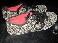 Vans Leopard Print Canvas Shoes with Pink Soles - Size 6