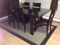 Espresso Solid wood Table/sideboard/chairs