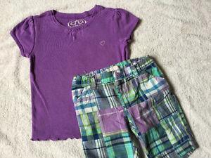 The Children's Place Purple Shirt/Plaid Shorts $6