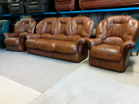 Brown Italian Leather 3 Seater Sofa and 2 Chairs